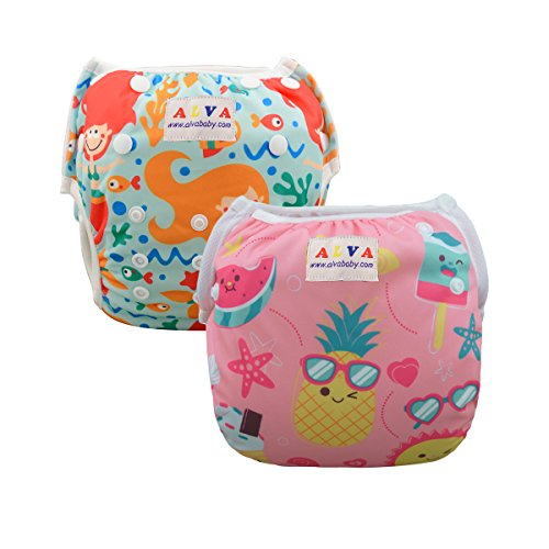 ALVABABY Baby Swim Diapers 2pcs One Size Reuseable & Adjustable 0-24 mo. 10-40lbs Baby Shower Gifts (Baby Girls) SWD37-39