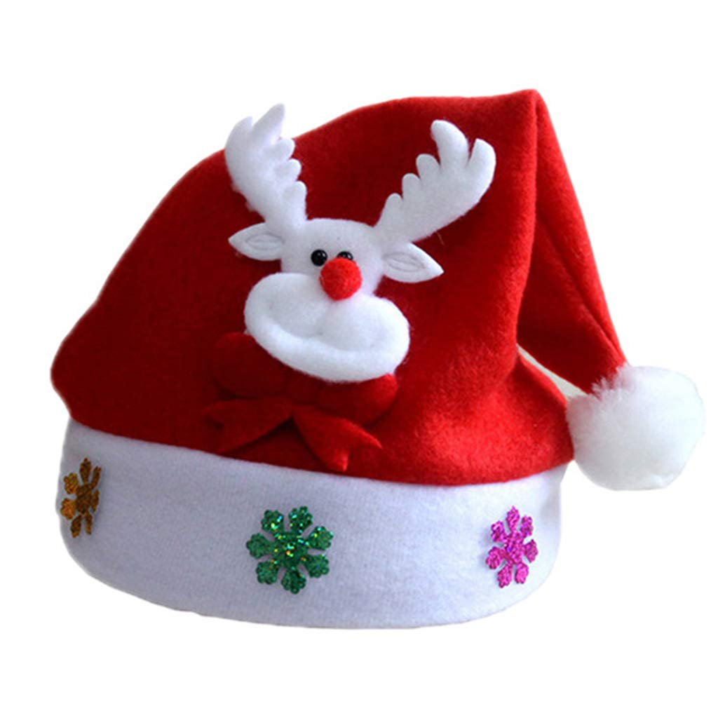 HNDHUI 1pc LED Christmas Hat Adult Children Santa Claus Hat Reindeer Snowman Party Cap Gift (Colour-D, for Adult)