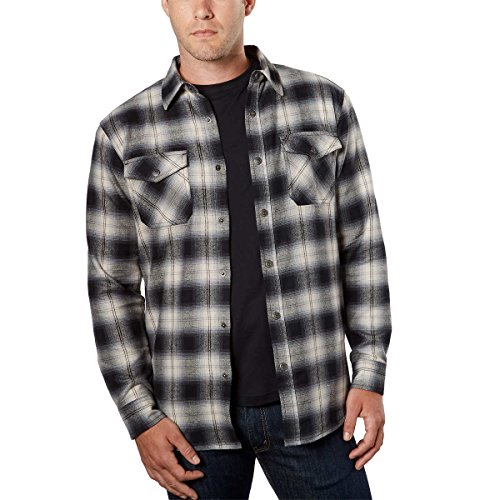Grizzly Mountain Mens Thermal Lined Flannel (Moonlight, Medium)