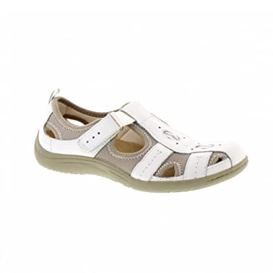 f26f94f5939 Earth Spirit MADISON Ladies Suede Touch Fasten Sandal Shoes White UK ...