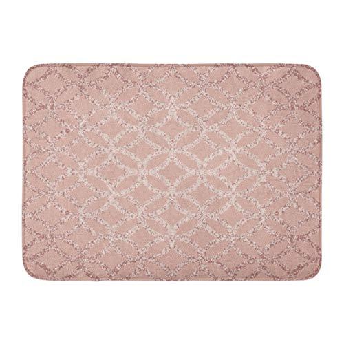 "Emvency Doormats Bath Rugs Outdoor/Indoor Door Mat Abstract Dusty Rose Lit in The Center Geometric Pattern of Circles Blend Border Bathroom Decor Rug Bath Mat 16"" x 24"""