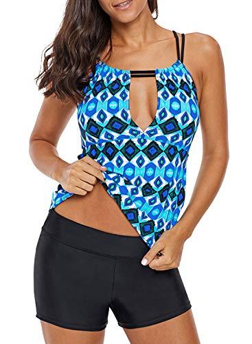 Sidefeel Women Print High Neck Keyhole Front Tankini Swim Top Medium Deep Blue