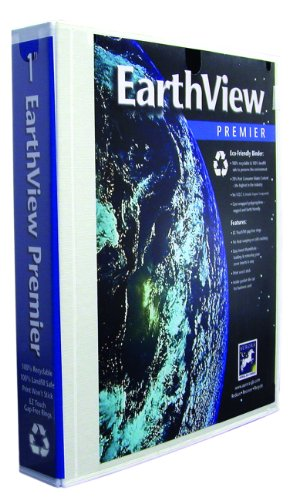 Aurora GB EarthView Premier Binder, 1 Inch Round Ring, 8 1/2 x 11 Inch Size, White, Linen Embossed, Eco-Friendly, Recyclable, Made in USA (AUA09247)