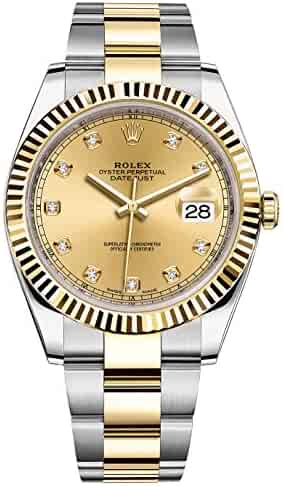 Rolex Datejust 41 Stainless Steel & 18K Yellow Gold Oyster Champagne Diamond Dial 126333