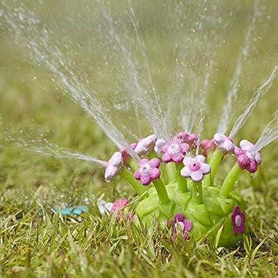 Water Sprinkler 12 Wiggling Water Hose Sprinkles Red or Pink Flowers Backyard