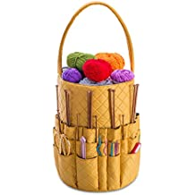 Kiota Quilted Knitting and Sewing Storage Bag - Yarn and Needle Accessory Bucket with Inner Pockets - Canary