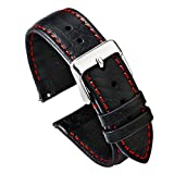 PBCODE Watch Strap Quick Release Leather Watch Strap 22mm for Watches and Smartwatches –Black (Red Stitching) Soft