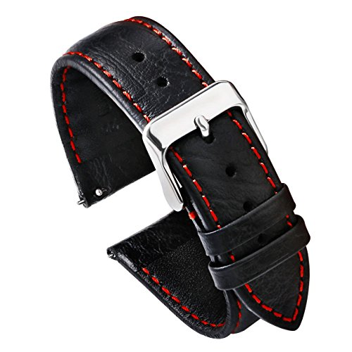 PBCODE Watch Strap Quick Release Leather Watch Strap 22mm for Watches and Smartwatches –Black (Red Stitching) - Watch Mens Band Fancy