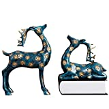 LXYFMS 1 Pair of Nordic Style Wine Cabinet Jewelry Home Accessories Porch TV Cabinet Gift Sika Deer 41x28x10cm Crafts