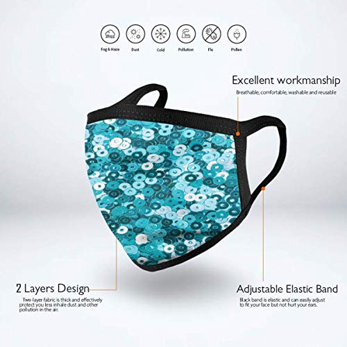 Dust Mask Turquoise Sequin Glitter Printing Antiviral Face Mask Cover Anti-dust Reusable Windproof Half Face Mouth Warm Masks for Ski Bicycle Cycling Motorcycle Women Men