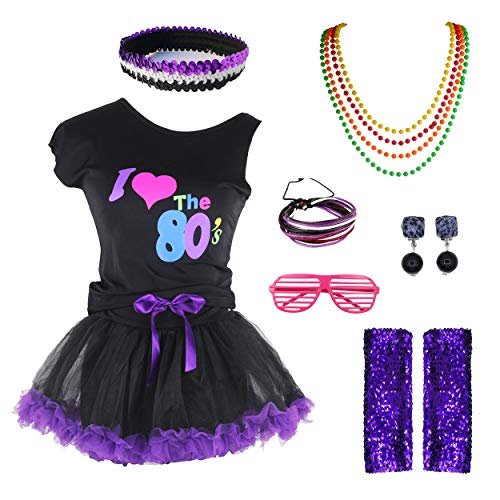 Girls I Love The 80's T-Shirt 1980s Outfit Costume Accessories Set (8-10, Black Purple) -