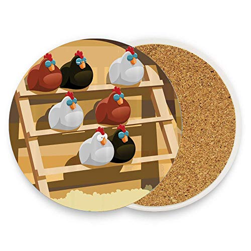 - Koperororo A Group of Hen Sleeping on a Perch in a Farm Colorful Doodle Style Animal Design Absorbent Stone Coaster for Drinks with Cork Drink Coasterof Mugs and Cups Pack Of 1