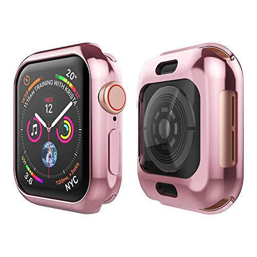 - Tech Express Metallic Chrome Bumper Protection Case for Apple Watch Series 4 [iWatch Cover] Rugged Skin TPU Gel Cover Shockproof Tough Full Body Screen Access Open Front (Rose Gold, 44mm)