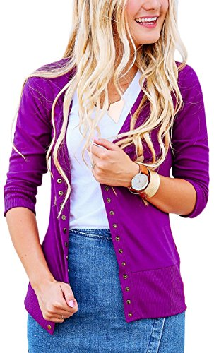 NENONA Women's V-Neck Snap Button Cardigan 3/4 Sleeve Soft Basic Knitwears Casual Sweater(Purple-M)