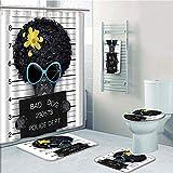 Bathroom 5 Piece Set shower curtain 3d print Multi Style,Funny,Mug Shot of Hippie Wanted Dog Criminal Puppy Afro Boxer Gangster Prison Humor Theme,Black Yellow,Bath Mat,Bathroom Carpet Rug,Non-Slip,Ba