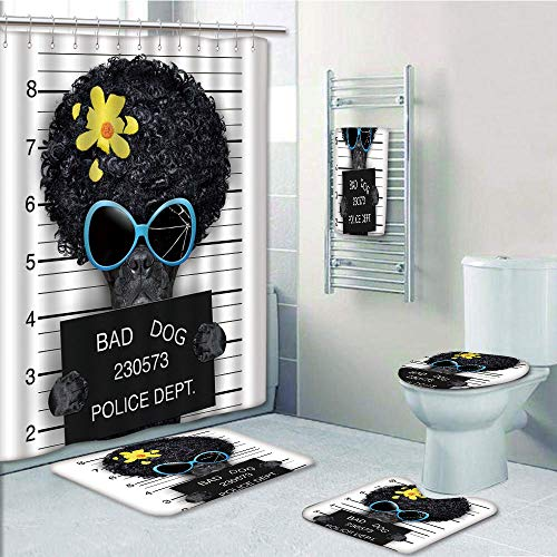 Bathroom 5 Piece Set shower curtain 3d print Multi Style,Funny,Mug Shot of Hippie Wanted Dog Criminal Puppy Afro Boxer Gangster Prison Humor Theme,Black Yellow,Bath Mat,Bathroom Carpet Rug,Non-Slip,Ba by iPrint