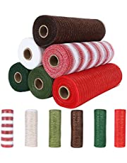 6-Pack Deco Poly Mesh Ribbon, 10 Inch x 30 Feet Multi-colored Mesh Rolls for Wreaths, Metallic Foil Red/Light & Dark Green/Brown/White Set for Crafting, Garland, Gift Baskets, and Christmas Decorating