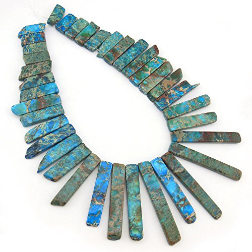 COIRIS 15'' Strand Real Natural Imperial Turquoise Stone Loose Beads Gemstone for Necklace Jewelry DIY Making Design (ZS-1002)