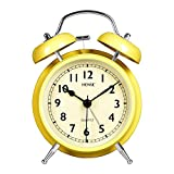 4.5'' Twin Bell Analog Alarm Clock Non Ticking Silent Sweeping Movement with Night Light Extra Loud Alarm Great for Travel and Kids Battery Operated Easy To Use HM39-002 Yellow