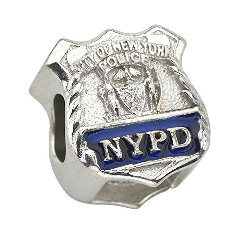 New York City Police Department (NYPD) Shield Charm - Fits Pandora Bracelet - Sterling Silver (Silver Enamel Shield Charm)