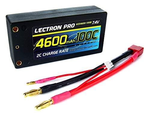 (Lectron Pro 7.4V 4600mAh 100C Shorty Lipo Battery with 4mm Bullet Connectors for 1/10 Scale Cars, Trucks, and Buggies)