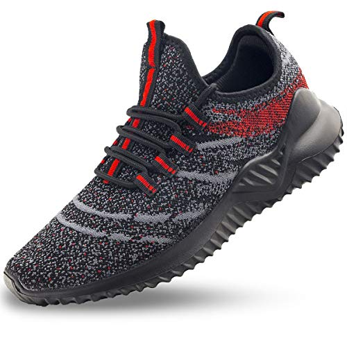 JIYE Men's Athletic Running Shoes Fashion Sneakers Sports Breathable Shoes Black/Red