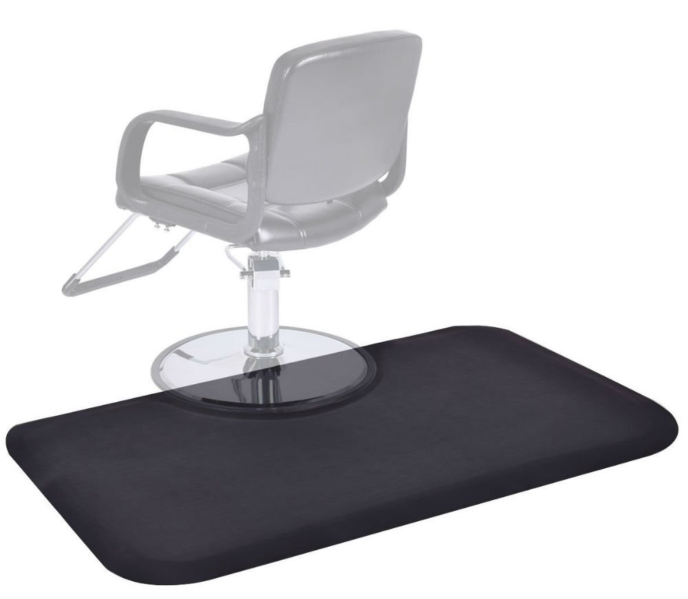 Black Rectangle 5'x3' 1/2'' Barber Salon Anti Fatigue Floor Mat Beauty Supplier