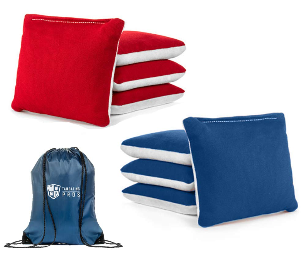 Tailgating Pros Pro-Style Two-Sided Cornhole Bags Red Royal Blue w/White Suede & Bag Tote - Slick & Stick - All Weather - Set of 8 by Tailgating Pros
