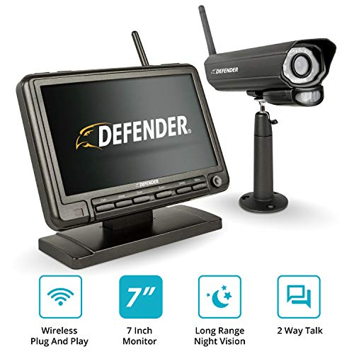 Defender PhoenixM2 Wireless Security System with 7`Monitor and Night Vision Camera (Security Camera Monitor Screen)
