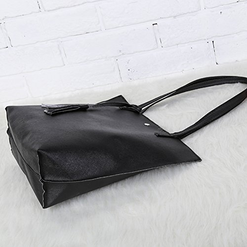 12cm La Pelle Capacità Borsa 29 Nero Yeshi Sintetica Di 36 Con Delle Centimetri Grande Nappa X Donne pwF6nS