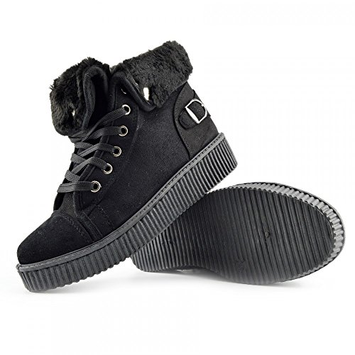 Pizzo Unica Nero Bfx307 Skater Scarpe Piattaforma Formatori Footwear Donna Kick Grosso qxwfZBXZ