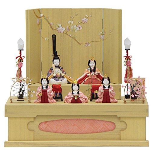 雛人形 五人揃収納飾り 木目込み人形(5人) 幅47cm 183to2117 一秀 名匠   B075J75N88