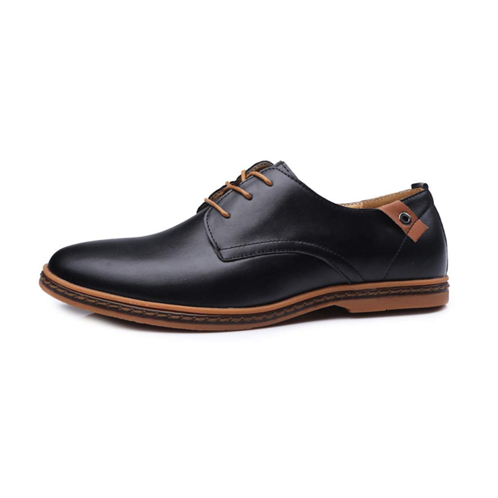 Men's Solid Leather Wedding Shoes - Male Business Fashion Casual Lace Up Shoes,2019 New Black