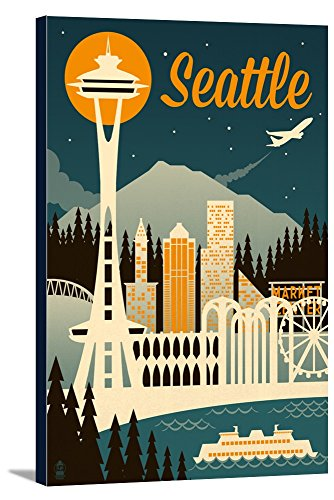 Seattle, Washington - Retro Skyline (24x36 Gallery Wrapped Stretched Canvas) (Retro Color Washington)
