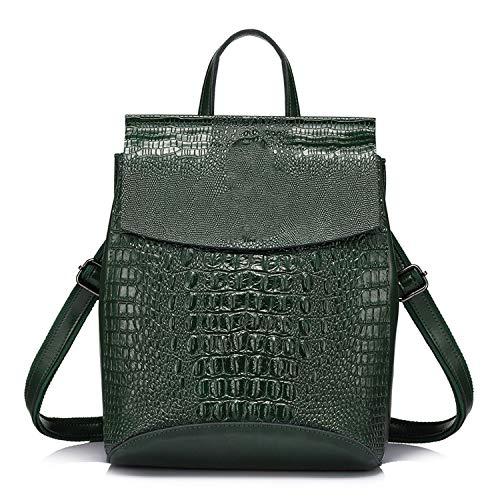 Women Backpack Split Leather for Teenagers School Shoulder Bag Crocodile Prints Large,Green,17 Inches