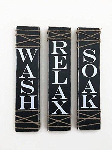 Rustic Bathroom Signs, SET OF THREE, Farmhouse Bathroom Decor, Wash Soak Relax, Rustic Sign