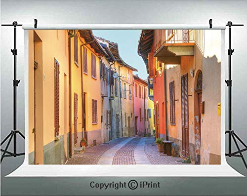 (Italy Photography Backdrops Narrow Paves Street Among Old Houses in Town Serralunga DAlba Piedmont Decorative,Birthday Party Background Customized Microfiber Photo Studio Props,10x6.5ft,Pale Orange Br )