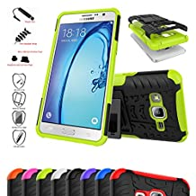 OnePlus X Case,Mama Mouth Shockproof Heavy Duty Combo Hybrid Rugged Dual Layer Grip Cover with Kickstand For OnePlus X Smartphone(With 4 in 1 Free Gift Packaged),Green