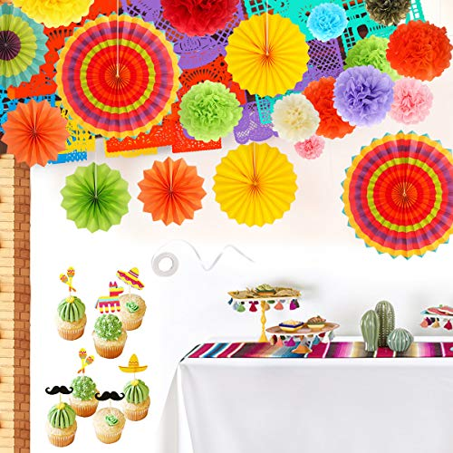 Fiesta Party Supplies - Cinco de Mayo Decorations Large Papel Picado Banner Tissue Paper Pom Poms Colorful Paper Fans Serape Table Runner Fiesta Cupcake Toppers - Mexican Fiesta Party Decor [45 PCS]