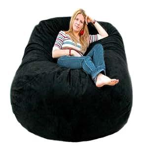 cozy sack 6 feet bean bag chair large black kitchen dining. Black Bedroom Furniture Sets. Home Design Ideas