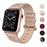 SWEES Leather Band Compatible for Apple Watch 38mm 40mm, Genuine Leather Shiny Bling Glitter Strap Compatible iWatch Series 4 Series 3 Series 2 Series 1, Sports & Edition Women, Glistening Rose Gold