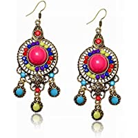 Tribal Ethnic Round Lucite Chandelier Resin Beads Bubble Dangle Hook Earrings