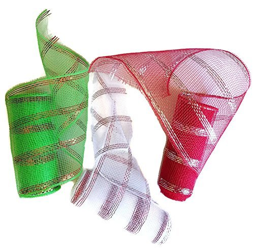 Decorative Christmas Crafters Mesh Ribbon Set of 3  Red Green and White  5 Yards each