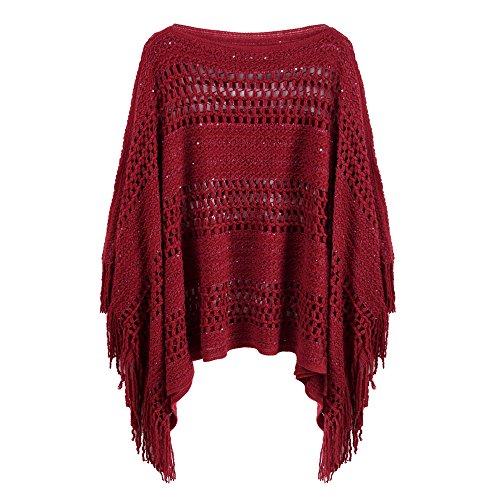 Makroyl Women's Crochet Scarf Shawl Wrap Cape Poncho with Tassel Pullover Sweater (Wine Red)