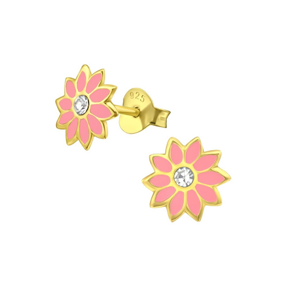 Girls Flower Crystal Ear Studs 925 Sterling Silver
