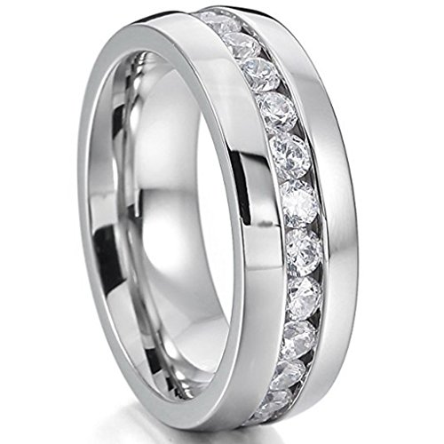 LEEYA NL19 Mens Womens 6MM Titanium Stainless Steel High Polished 18K Gold Plated Channel Set Cubic Zirconia CZ Promise Engagement Band Unisex Gold Wedding Ring Comfort Fit, Size 6-13 (9, Silver) Channel Diamond Comfort Promise Ring