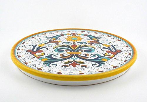 Hand Painted Italian Ceramic 11.8-inch Cake & Cheese Platter Ricco Deruta - Handmade in Deruta