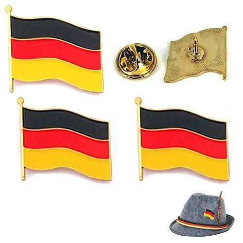3 Germany Flag Waving Lapel Pin Oktoberfest Hat Pinback Deutschland Gold Badge