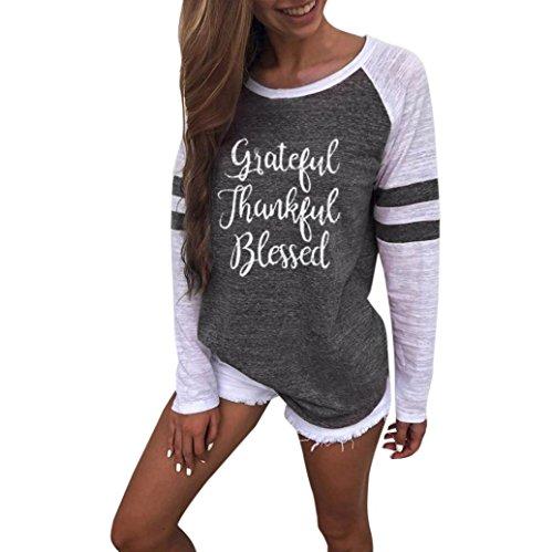 grau Muttertag Thanksgiving T Shirt Size Langarm Damen Plus B MRULIC Tops Geschenk Bluse Zum Patchwork 0xE66q