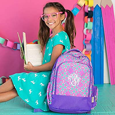 Lila Purple Quatrefoil 17 x 12 Polyester Fabric Backpack and Lunchbox Set